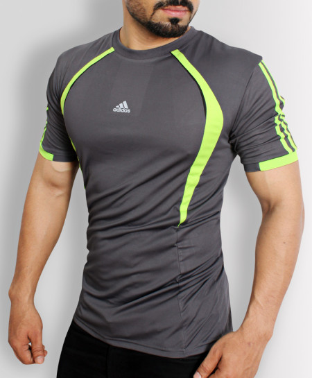 AD Dark Grey Sports Shirt With Green Stripes