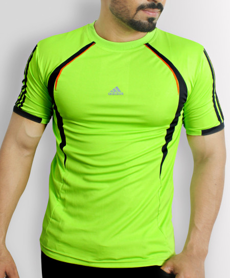 AD Light Green Sports Shirt With Black Stripes