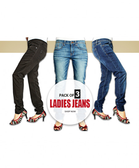 Pack Of 3 Ladies Jeans AJ-7562