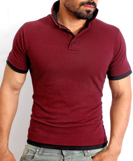 Maroon Double Collar Half Sleeve Polo Shirt QZS-178