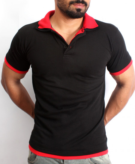 Black Double Collar Half Sleeve Polo Shirt