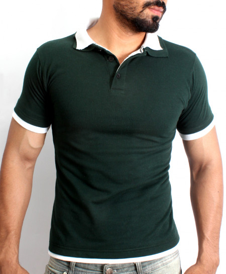 Green Double Collar Half Sleeve Polo Shirt