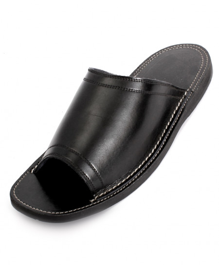 Black Leather Handcrafted Stylish Slipper HCL-008