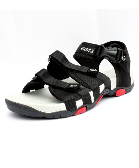 Black Stitched Tri Strap Stylish Casual Sandal CB-5043