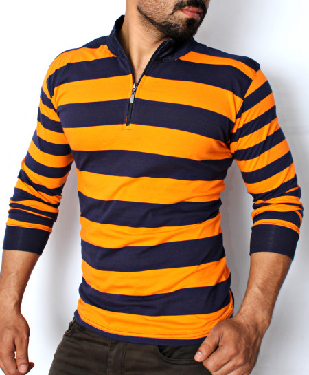 Orange Blue Striper Zipper Style T-shirt QZS-034