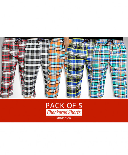 Pack Of 5 Checkered Three Quarter Pajamas QP-3521