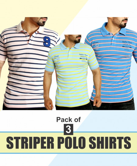 Pack Of 3 Yarn Dyed Polo Shirts