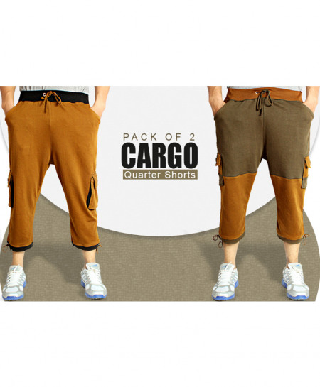 Pack Of 2 Cargo Pockets 3 Quarter Shorts FS-2211