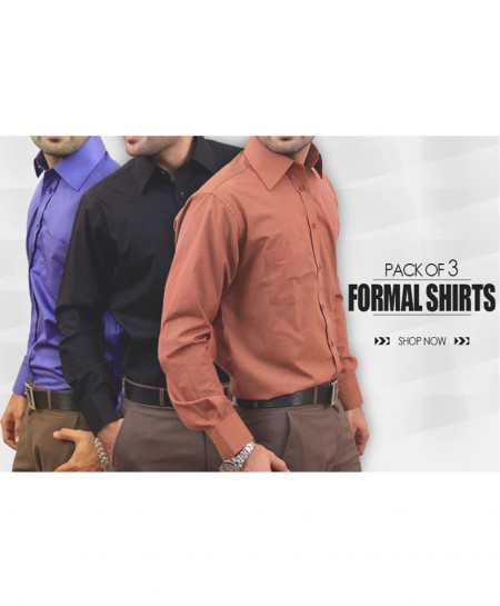 Pack Of 3 Formal Shirts AJ-2901AP