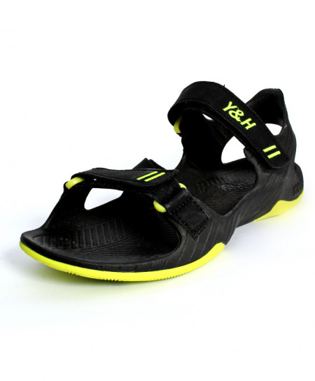 Black Yellow Double Strap Casual Sandal JK-7511