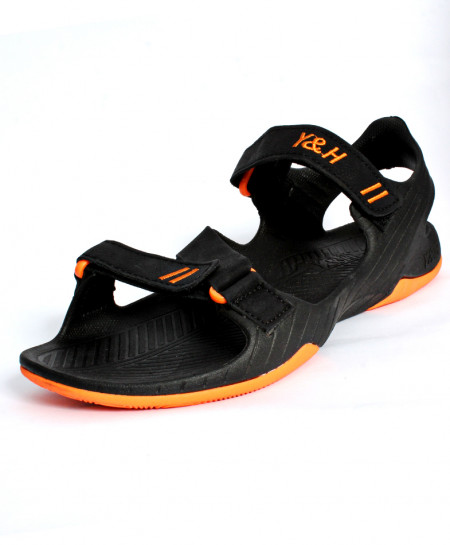 Black Orange Double Strap Casual Sandal JK-7512
