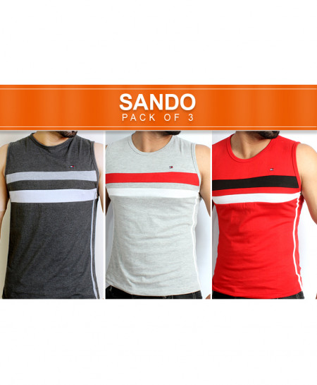 Pack Of 3 Multi Color Stripes Sando CS-5423