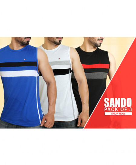 Pack Of 3 Multi Color Stripes Sando CS-5424