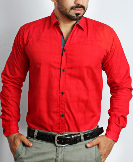 True Red Tipping Collar Formal Shirt NS-625MA