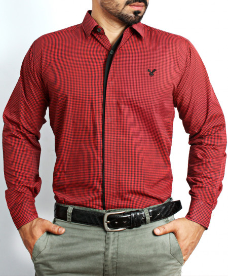 Maroon Dotted Formal Shirt NS-620MA