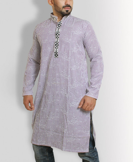 Purple Self Printed Embroidered Stylish Kurta