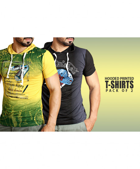 Pack Of 2 Hooded Printed T-Shirts NG-6523