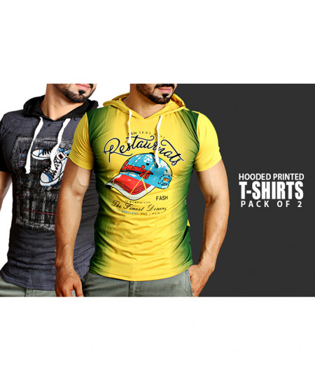 Pack Of 2 Hooded Printed T-Shirts NG-6524