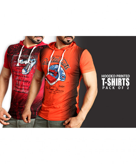 Pack Of 2 Hooded Printed T-Shirts NG-6525