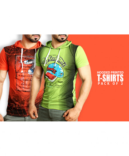 Pack Of 2 Hooded Printed T-Shirts NG-6526