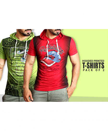 Pack Of 2 Hooded Printed T-Shirts NG-6527