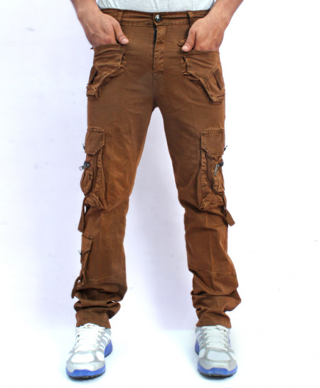 Dark Brown 7 Flap Pockets Style Cotton Trouser NG-6532