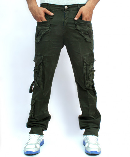 Dark Green 7 Flap Pockets Style Cotton Trouser NG-6534