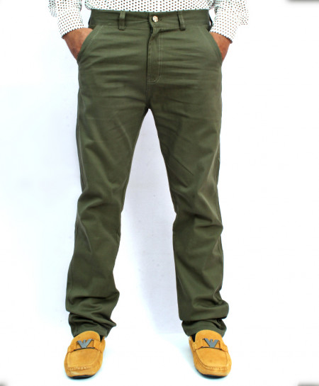Olive Green Back Pocket Design Cotton Pant NG-6543