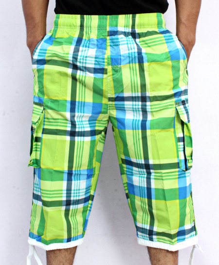 Green 2 Sides Pockets Checkered Shorts NG-2117