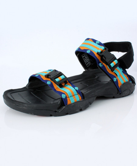 Black Multicolored Double Strap Casual Sandal DR-241