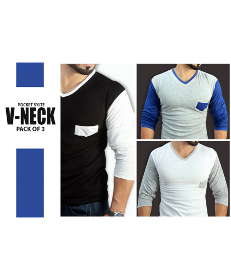 Pack Of 3 V Neck Front Patch Style T-Shirt FT-7869AP