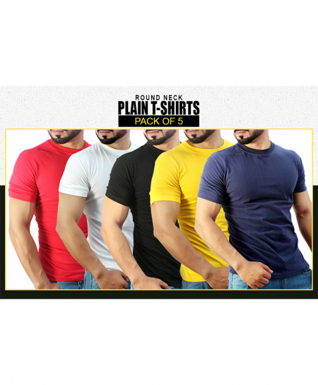 Pack Of 5 Plain Basic T-Shirts FS-2156MA