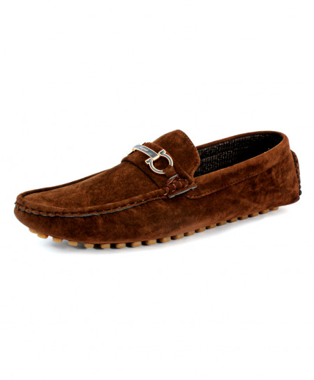 Dark Brown Suede Buckle Style Loafer Shoes CB-5049