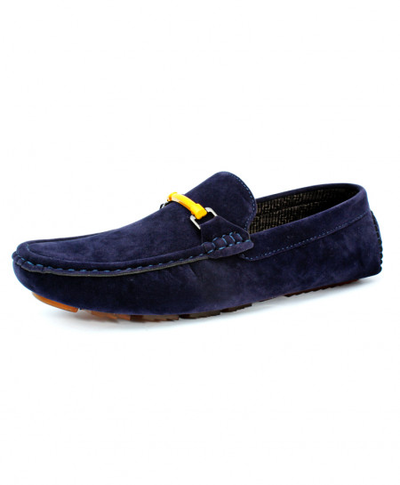 Navy Blue Suede Stitched Design Loafer Shoes CB-5057