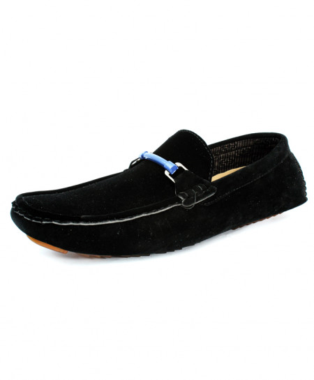 Black Suede Stitched Design Loafer Shoes CB-5059