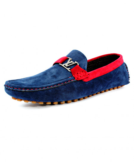 Blue Red Front Buckle Style Loafer Shoes CB-5060