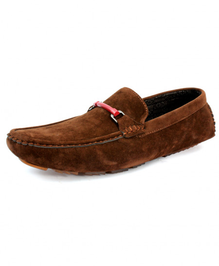 Dark Brown Suede Stitched Design Loafer Shoes CB-5061
