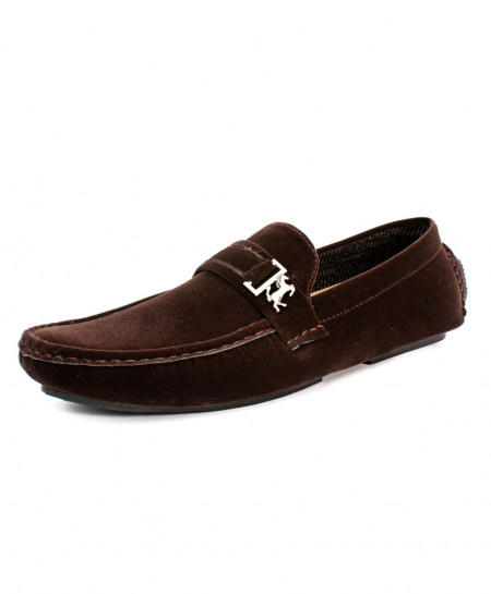 Choco Brown Buckle Stitched Design Loafer Shoes CB-5070