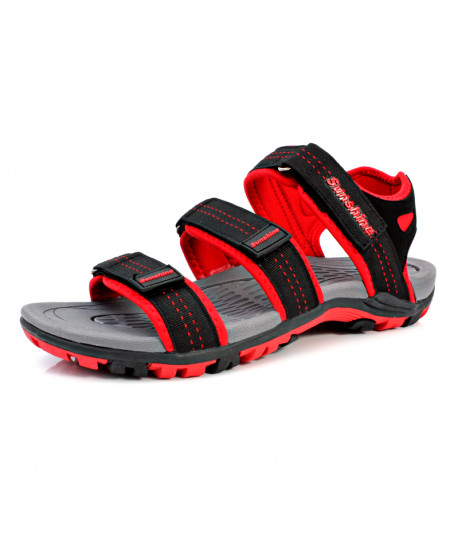 Red Black Stitched Tri Strap Style Casual Sandal DR-269