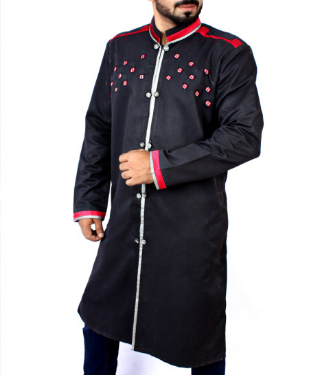 Black Red Front Patches Shairwani Style Kurta ARK-831