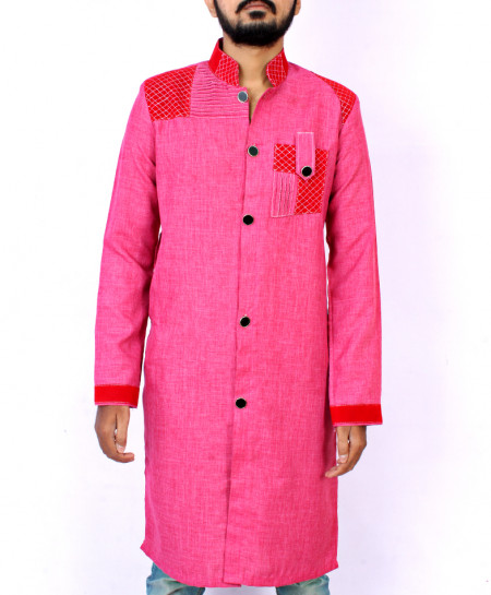 Pink Shairwani Style Kurta With Red Patches ARK-835
