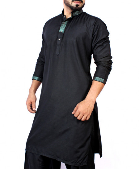 Black Neck Embroidered Design Kurta Shalwar ARK-839