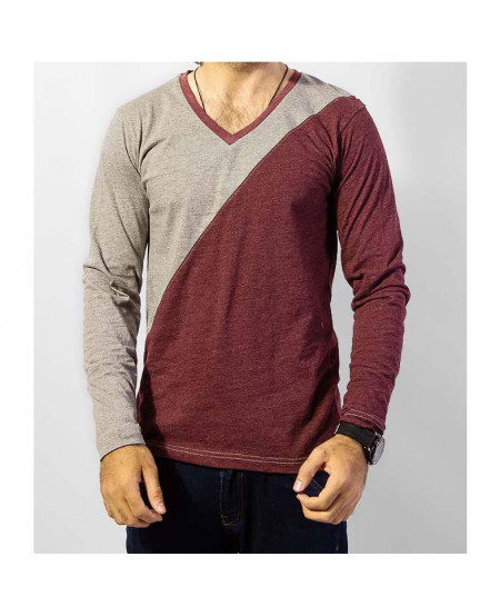Maroon Grey V Neck Full Sleeves T-Shirt QZS-995
