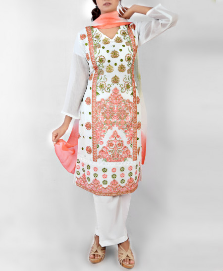 White With Multicolor Embroidered Ladies Suit NGL-003