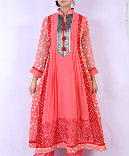Pink Stylish Polka Dots Ladies Suit NGL-006