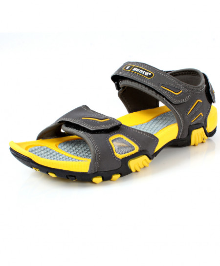 Grey Yellow Tri Strap Stylish Casual Sandal DR-278