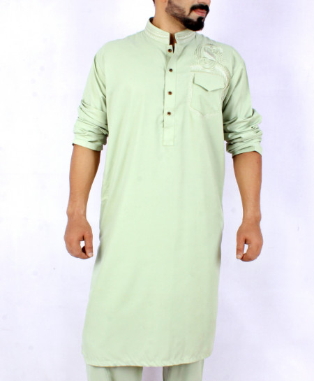 Aqua Green Front Embroidered Kurta Shalwar ARK-837