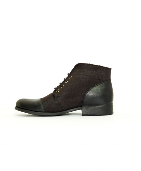 Baldon Black Leather High Ankle Luke Style Boots BLBF5001