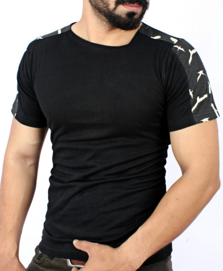 Black Camouflage Shoulder Style T-Shirt QZS-070