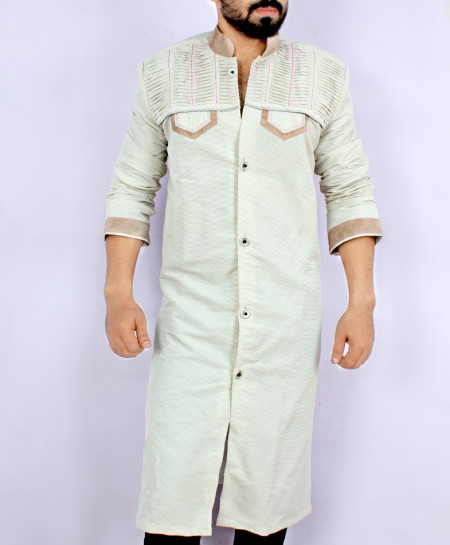 Silver Threaded Front Open Style Kurta ARK-845